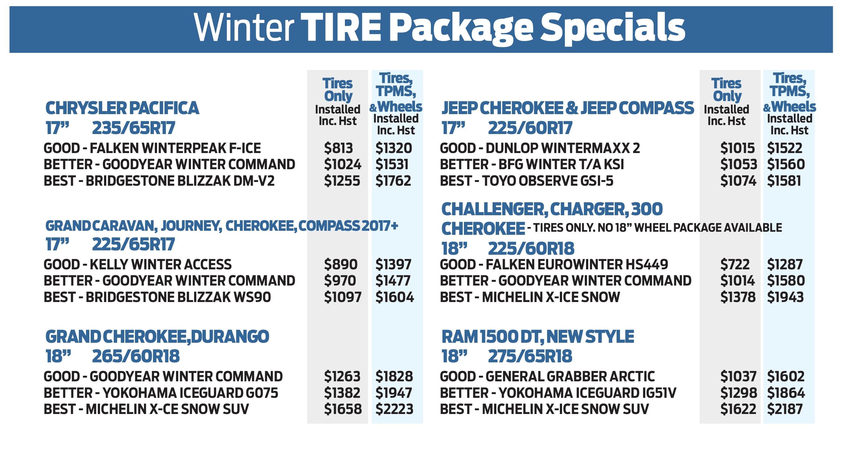 Winter Tire Specials - Brampton Chrysler Dodge Jeep Ram